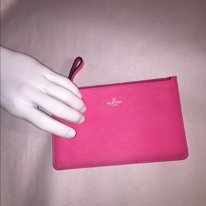 NWOT auth VALENTINO small leather pouch PINK $529